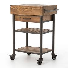 Sophisticated Mini Square Hardwood Rolling Kitchen Island And Double Shelves On Wheels