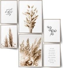 blckart infinity premium beige poster bilder set stilvolle doppelseitige wendeposter wohnzimmer deko trockene pflanzen 2x a3 4x a4 beige