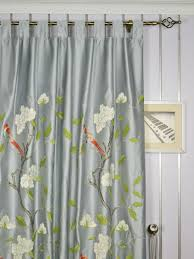 120 Inch Linen Curtain Panels by 63 Inch 96 Inch Gray Embroidered Bird Branch Grommet Faux Silk