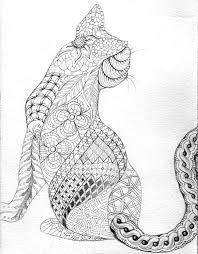 Free Coloring Page Adult Difficult Cat From Back With Zentangle Patterns