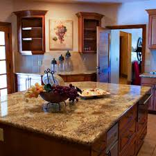 Rustic Style Kitchen With Laminate Granite Countertops Cherry Wood Cabinets And Wicker