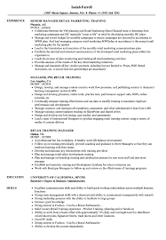 Download Retail Training Manager Resume Sample As Image File