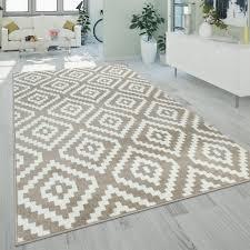 teppich beige weiß wohnzimmer flauschig ethno real de