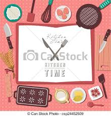 Baking Ingredients On Kitchen Table In Flat Design Vector
