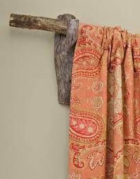 Rustic Love This Curtain Rod And Fabric Combo Nice POP Of Color Would Be