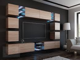 wohnwand edge sonoma eiche matt mediawand medienwand design modern led beleuchtung hängewand hängeschrank tv wand