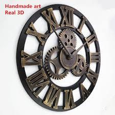 Horloge Mural 3d Achat Vente Pas Cher Pas Cher Room Escape Horloge 3d Rétro Rustique Décoratif De