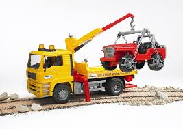Bruder MAN Tow Truck With Cross Country Vehicle - 1:16 Scale By ... Authentic Bruder Toys Man Telecrane Tc 4500 Crane Truck New In Box Kavanaghs Bruder Mercedes Benz Arocs Crane Truck With Lights Yellow With 360degree Swiveling 02754 Cstruction Tga Castle 02769 Forestry Timber With Loading Amazoncom Man And 3 2 Mack Granite Liebherr Games Truck Franc Jeu Rosemere News 2017 Unboxing Dump Garbage Crane Tgs By Fundamentally