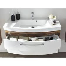 badezimmermöbel waschplatz set in hochglanz weiß mit walnuss 100cm waschtischunterschrank mit waschbecken led spiegel