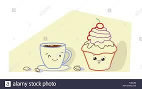 süße muffins kuchen mit kaffee tasse comic lächelnde