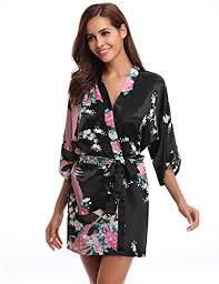 kimono robe de chambre femme aibrou kimono robe de chambre chemise de nuit femme fleurs paon
