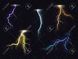 Colored Lightning Bolt Vector Set On Transparent Background Electric Discharges Thunderbolt Glowing Realistic Light