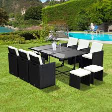 Outsunny Outdoor 11 Piece PE Rattan Wicker Table and Chair Patio