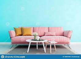 wohnzimmer hellblaue innenwand mit eintausendjährig rosa