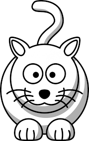 Cartoon Cat Black White Line Animal Coloring Sheet Colouring Page