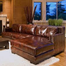Davis Saddle Brown Leather Sectional with Right Facing Chaise