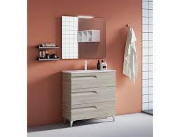 badezimmer badmöbel 80 cm aus weiß nature holz mit keramik waschtisch zubehör standard