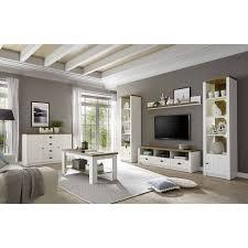 landhaus wohnwand set mit anrichte couchtisch pisa 61 in pinie weiß und eiche hell inkl beleuchtung b h t ca 300 198 43 cm