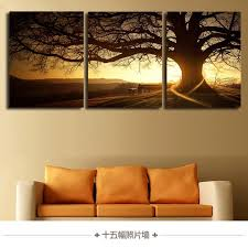 3 Pieces Set Modern Printed Tree Painting Picture Cuadros Sunset Canvas Wall Art Home