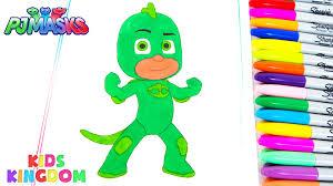 PJ Masks Gekko Coloring Book Pages Fun Creative Drawing Video Disney Jr Kids Kingdom