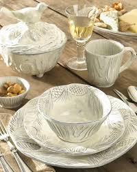 Pine Bark And Bird Motifs Are Handcrafted On Stunning Accessories Of Pineta Dinnerware
