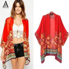 Summer Style 2016 Fashion Women Kimonos Vintage Flower Print Red Chiffon Blusa Loose Kimono
