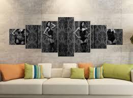 leinwandbilder 7 tlg 280x100cm schwarz erotik frau korsett strümpfe schwarz schlafzimmer po collage leinwand bild teile teilig kunstdruck druck