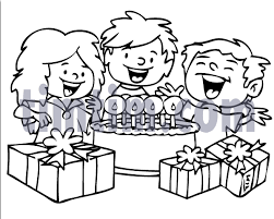 Free drawing of Birthday Cake Kids BW from the category Valentines Easter TimTim