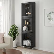 bestå vitrine schwarzbraun glassvik stallarp schwarz klarglas 60x22x202 cm