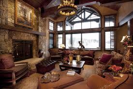 Living Room Rustic Design Ideas Wooden Table Purple Carpet Standing Floor Lamp Brown Leather