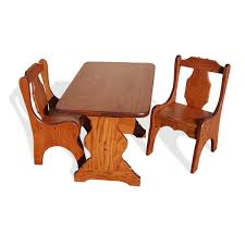 Child's Trestle Table Set (Table & 2 Chairs) | Peaceful Valley Amish  Furniture