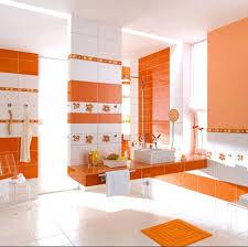 badezimmer in orange mit blumen badezimmer fliesen