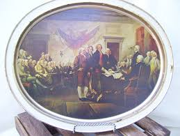 Daher Decorated Ware History by Declaration Of Independance Oval Tray Metal History Sunshine