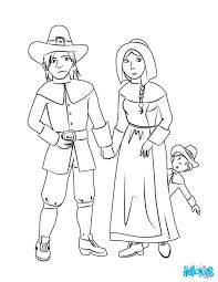Thanksgiving Pilgrim And Indian Coloring Pages Pictures Family Page Source Free Printable