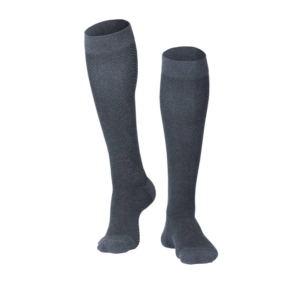 Touch 1011, Men's Compression Socks, Knee High, Herringbone Pattern, 15-20 mmHg, Charcoal, X-Large