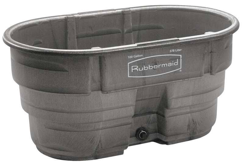 "Rubbermaid Commercial FG424288BLA Structural Foam Stock Tank - Black, 100gal Capacity, 53""x25"""