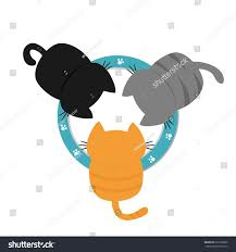 Cat Paw Print Pumpkin Stencil by Three Kittens Drinking Eating Milk Bowl Stock Vector 672372862