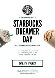 Starbucks Dreamer Day : Starbucks Tim Hortons Coupon Code Aventura Clothing Coupons Free Starbucks Coffee At The Barnes Noble Cafe Living Gift Card 2019 Free 50 Coupon Code Voucher Working In Easy 10 For Software Review Tested Works Codes 2018 Bulldog Kia Heres Off Your Fave Food Drinks From Grab Sg Stuarts Ldon Discount Pc Plus Points Promo Airasia Promo Extra 20 Off Hit E Cigs Racing Planet Fake Coupons Black Customers Are Circulating How To Get Discounts Starbucks Best Whosale