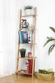hynawin leiterregal 5 stöckiges bücherregal bambus aufbewahrungsregal für wand anlehnung freistehend pflanzenständer eck display für wohnzimmer