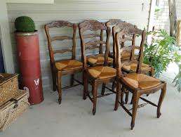 Tall Ladder Back Chairs With Rush Seats by French Antique Oak Dining Chairs With Stretchers Ladder Backs And