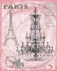 Paris Pink Chandelier Digital Collage For Hang Tags ACEO ATCs Journals Backgrounds