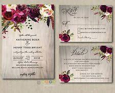 100 Personalized Wedding Invitations Rustic Wood Burgundy Maroon Floral Suite