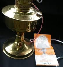 Antique Brass Aladdin Lamps by Aladdin Brass Kerosene Electric Table Lamp