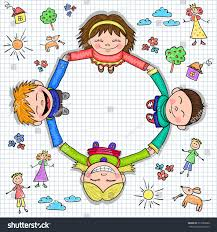 Circle Of Kids Holding Hands On The Paper Checkered And Childrens Drawings Vector Illustration