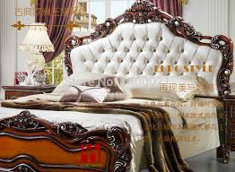 Elegant carving wood bed hot sale classical European style King