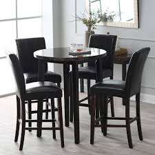 Contemporary Black And Brown Polished Solid Wood Tall Bar ...