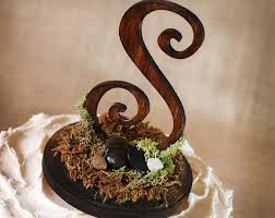 Rustic Wooden Monogram Cake Topper Woodsy Woodland