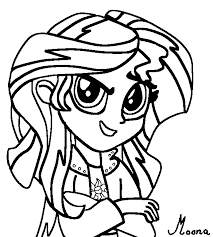 Sunset Shimmer Pony My Little Girl Coloring Pages