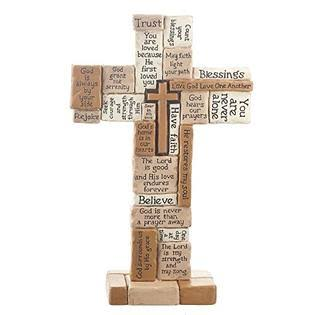 Ganz Collage Polystone Tabletop Cross - 10""