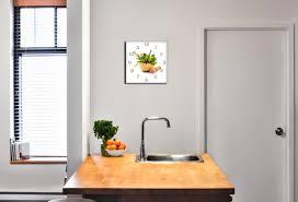 wanduhr aus glas 30x30cm uhr als glasbild küche kräuter